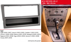Переходная рамка Opel Agila, Combo, Corsa, Meriva, Omega, Signum, Tigra, Vectra, Vivaro ACV 281230-26-2