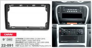 Переходная рамка Citroen, Peugeot, Fiat, Toyota Carav 22-091