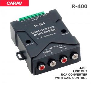Преобразователь уровня сигнала 4 канальный Carav R-400