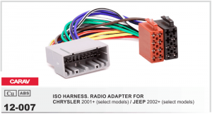 Переходник ISO Chrysler, Jeep Carav 12-007