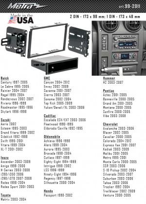 Переходная рамка Suzuki, Chevrolet, Isuzu, Hammer, Pontiac, Cadillac Metra 99-2011