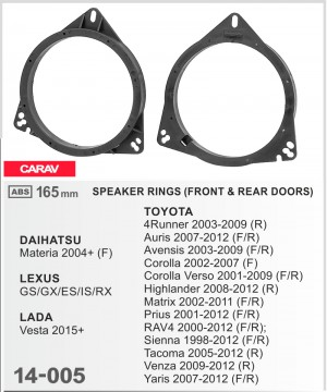 Проставки под динамики Carav 14-005 для автомобилей Toyota